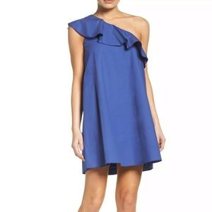 NWT NSR one shoulder Ruffle Dress Blue size S